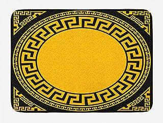 Ambesonne Greek Key Bath Mat, Sun Inspired Big Circle with Antique Fret and Triangular Ornaments, Plush Bathroom Decor Mat with Non Slip Backing, 29.5