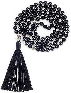 Mala Necklace   108 Hand-Knotted 8mm Gemstone Round Beads, Antiqued Guru and Counter Beads, and Tassel   Meditation, Buddhist Prayer, Healing