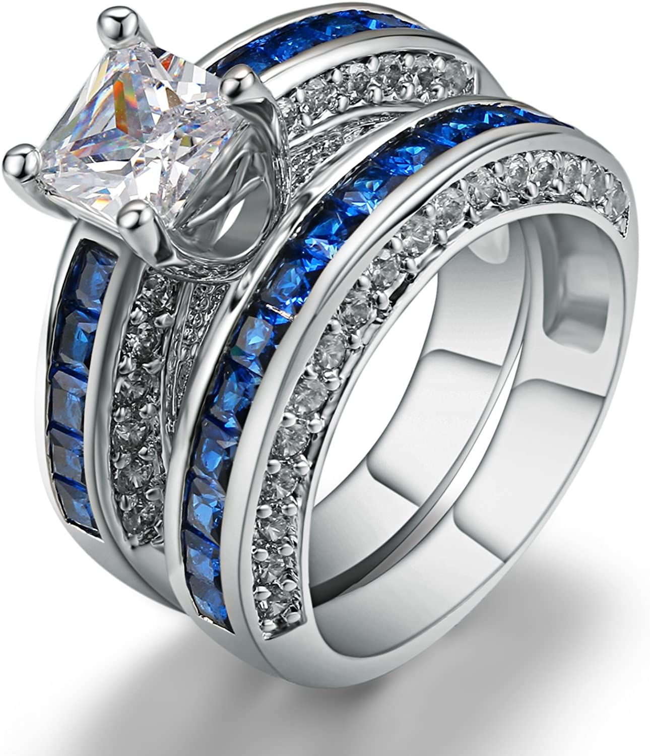 European Style 2 Pieces Platinum Plated Cubic Zirconia Wedding Engagement Band Couple Rings