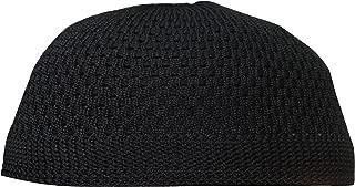 SMALL Plain Black Open-Weave Nylon Stretchy Kufi Hat Skull Cap Beanie - Fits 20-21
