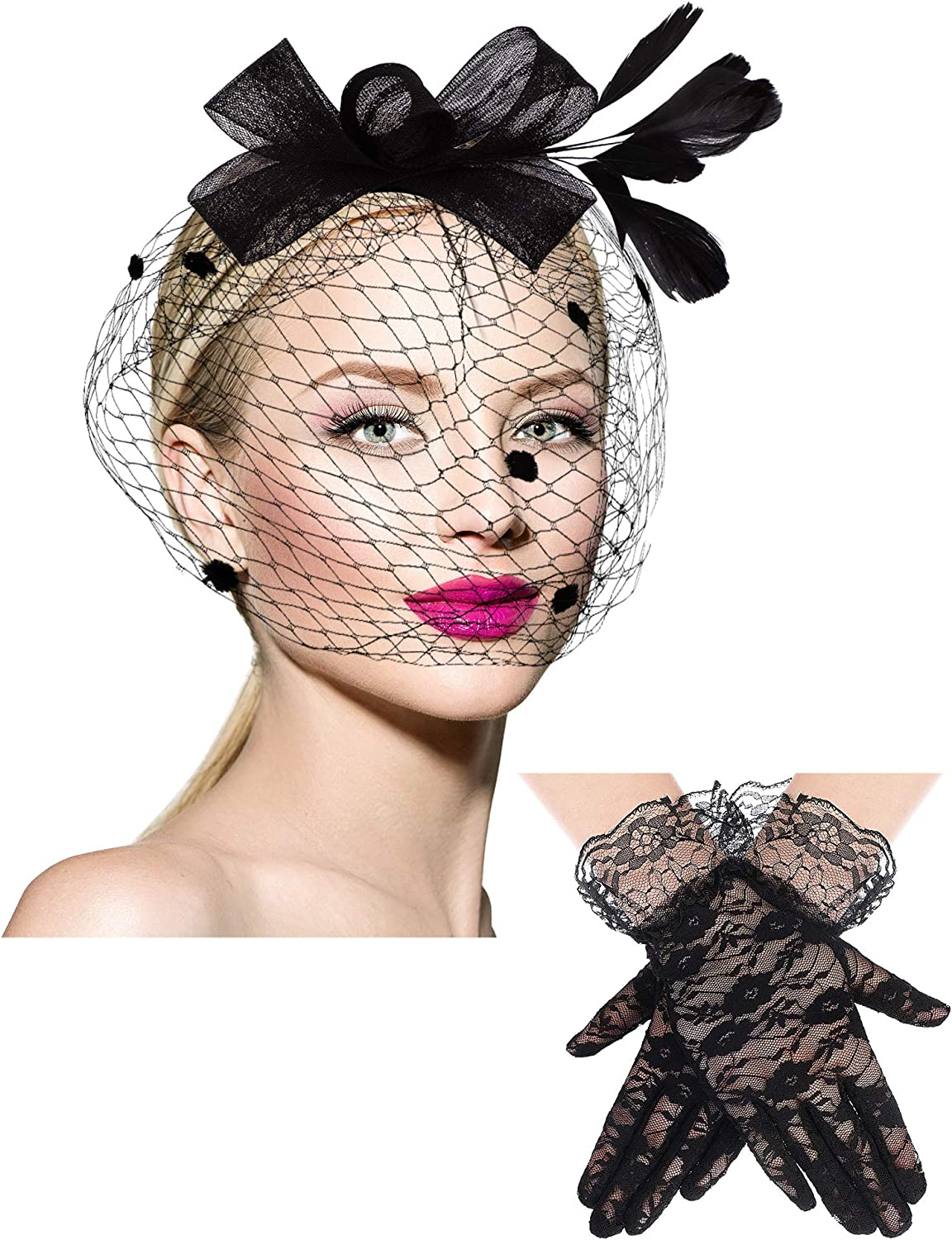 Feather Veil Mesh Hat Short Lace Glove 50s Costume Accessories for Women Wedding