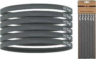 Elastic Thin Sports Headbands - 6 Pack Skinny Athletic Hair Bands for Men, Women, Boys & Girls - Non Slip Silicone Grip Ha...