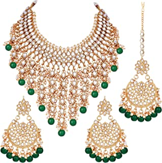 Indian Traditional Ethnic Bollywood Kundan Necklace Earrings and Maang Tikka Set Jewelry for Women