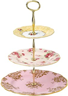 Royal Albert 100 Years 3 Tier Cakestand Bouquet Golden Rose Blue, Bone China, Multi-Colour, 27.5 x 27.5 x 6 cm