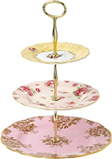 Royal Albert 100 Years 3 Tier Cake Stand - Bouquet, Rose Blush & Golden Rose