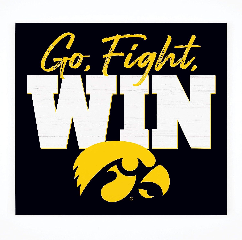 P. Graham Dunn Go Fight Win Iowa University Hawkeyes NCAA Logo 10.5 x 10 Birch Wood Pallet Sign