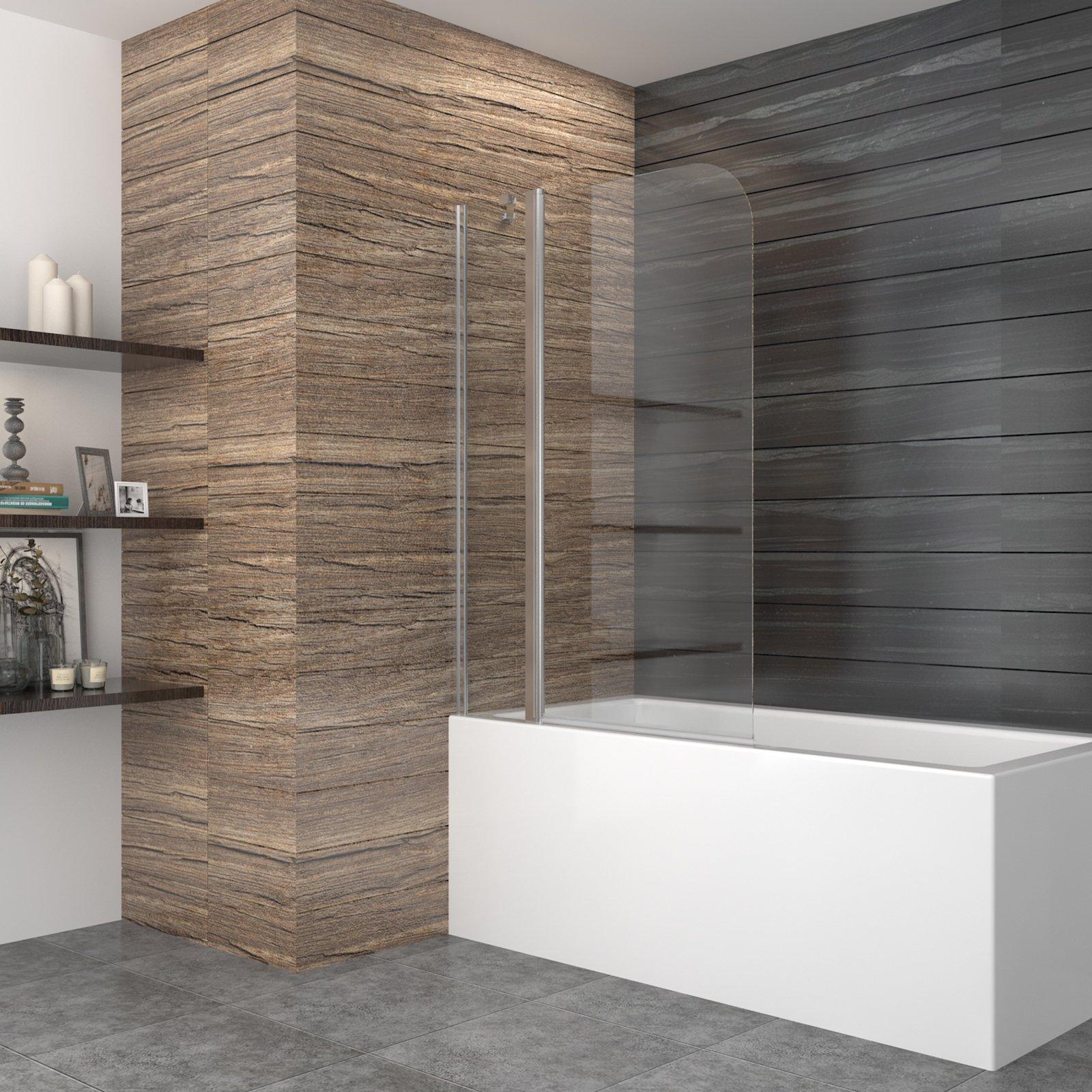 99 * 140 cm – Mampara Mampara de bañera ducha pared bañera plegable pared de 2 piezas Cristal ducha orientable 180 grados: Amazon.es: Hogar