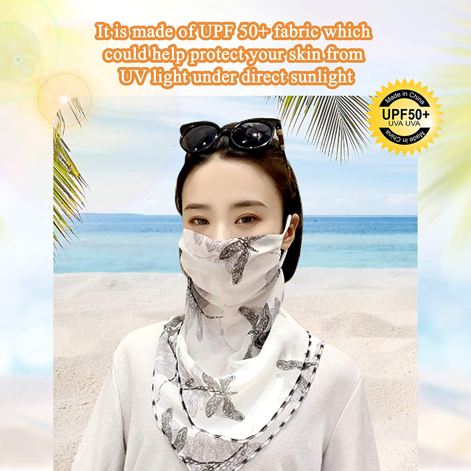 Face Neck Cover Sun UV Protection Balaclava Bandana Face Covering Neck Gaiter Chiffon Breathable Anti-dust Windproof Earhook for Women Outdoor ECOMBOS Face Scarf