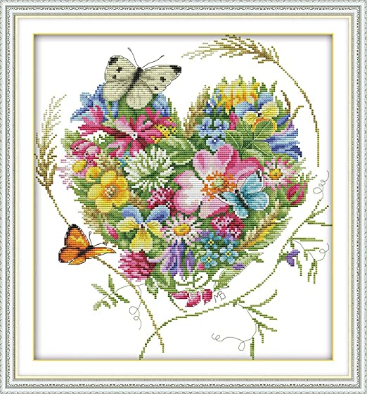 CaptainCrafts Hot New Stamped Cross Stitch Kits Preprinted Pattern and Counted White Fabric Embroidery Needlepoint Adults Kits for Home Decor Crafts Kit Blue Bird Stamped 11CT