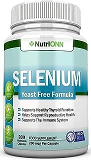 Selenium - 200mcg - 200 Vegetarian Capsules - Yeast Free Formula - Essential Trace Mineral - Pure Selenium (l-Selenomethio...