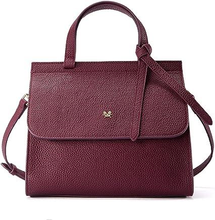 c63d05d6f603 EMINI HOUSE Women Fashion Bowknot Handle Bag with Buckle Closure Litchi  Grain Genuine Leather Handbag