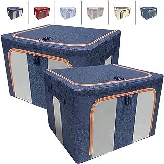LaiBa 衣類収納ケース 布団 収納 収納ボックス 衣装ケース 大容量 2個セット 幅50×奥行40×高33cm (ブルー)
