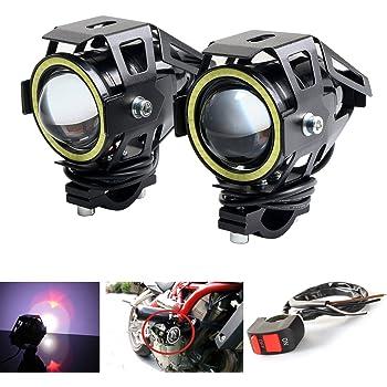 LEDUR Motorcycle Headlight Led U7 DRL Fog Driving Running Light with Angel Eyes Lights Ring Front Spotlight Strobe Flashing White Light and Switch(2PCS,White Halo)