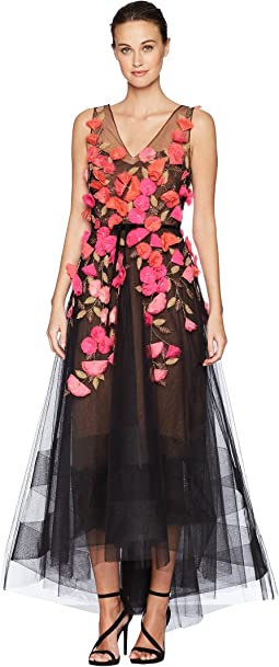 Sleeveless V-Neck Hi-Lo Gown w/ 3D Degrade Flowers