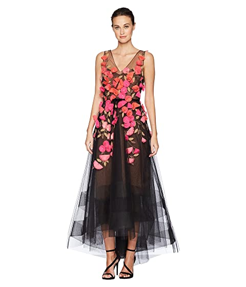 Marchesa Notte Sleeveless V-Neck Hi-Lo Gown w/ 3D Degrade Flowers