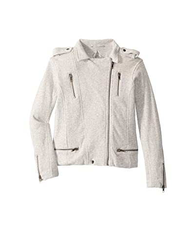 Chaser Kids Super Soft Cotton Fleece Moto Jacket w/ Zipper Details (Little Kids/Big Kids) (Heather Grey) Girl