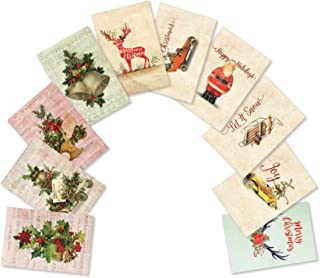 10 Boxed Vintage Christmas Cards - Assorted Merry Christmas Cards with Envelopes - Images of Antique and Classic Xmas Items - Variety Box of Happy Holidays and Seasons Greetings Gifts A5561XSG-B1x10