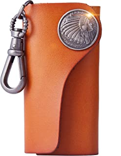 Leather Wallet Keychain Car Key Case Holder Handmade Retro Tribal Native American Keychains for Women/Mens Car Key Chain-Orange