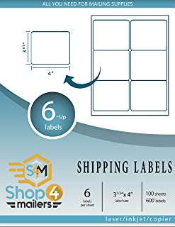 Shop4Mailers 6-Up White Shipping Labels 3 1/3