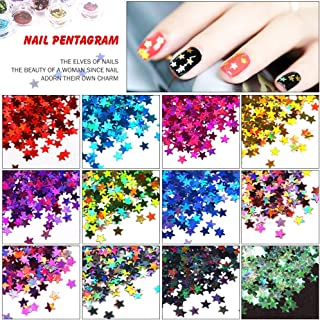MEILINDS Mixed Color Glitter Acrylic Five Star Sequins Sheet Tips Decoration Nail Art Manicure Kit 12 Colors