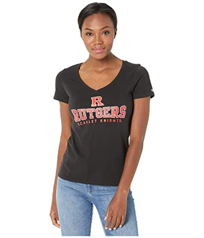 Champion College Rutgers Scarlet Knights University V-Neck Tee (Black) Women