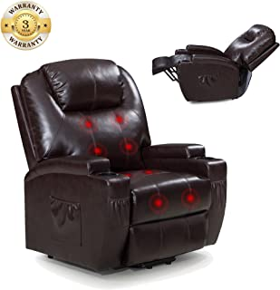 Power Lift Recliner Sofa Chair with Massage and Heating, Luxurious Bonded Leather Lounge Living Room Chair, Brown