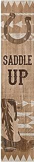 P. GRAHAM DUNN Saddle Up Cowboy Boot Horseshoe 1.5 x 7.5 Inch Pine Wood Vertical Tabletop Block Sign