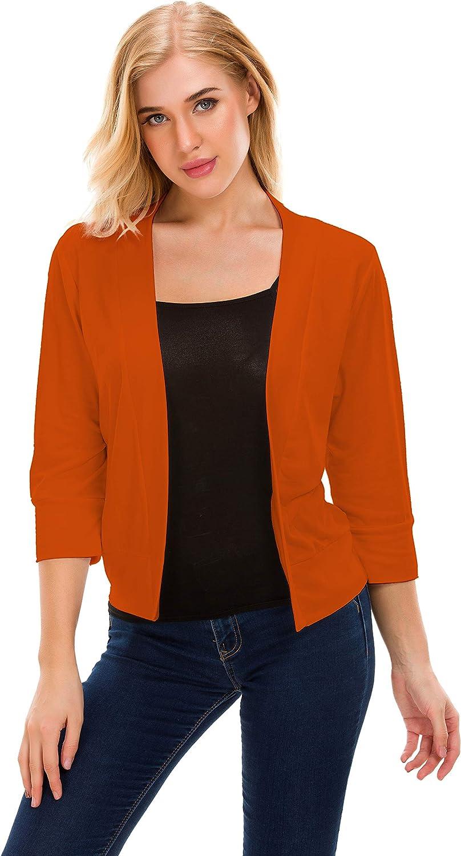 TownCat Womens Open Front Cardigans Classic 3 4 Sleeve Cropped Bolero Shrug Short Cardigans
