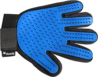 Huxie Pet Grooming Glove - Gentle Brush That is Fun to Use – Great Cat or Dog Gift for Pet Lovers - Perfect for Short and Long Haired Pets to Reduce Shedding – Comfortable Five Finger Mitt