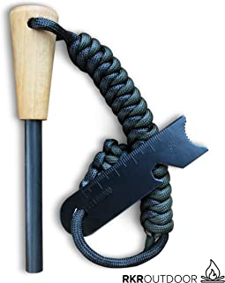 Traditional Ferro Rod Fire Starter with Handcrafted Wood Handle   5/16
