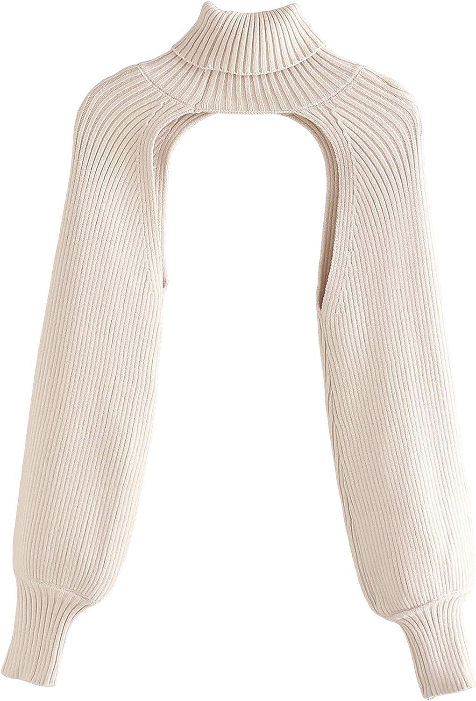 Hooever Women's Turtleneck Long Sleeve Crop Cut Out Sweater Jumper