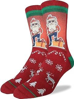 Good Luck Sock Men's Hip Santa Christmas Socks - Red, Adult Shoe Size 8-13
