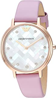 Emporio Armani Women's Quartz Stainless Steel and Leather Casual Watch, Color:Pink (Model: AR11130)