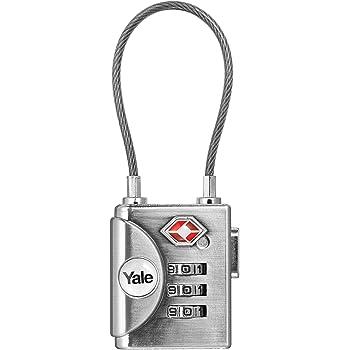 Yale YTP3/32/350/1 - Cadenas à Code avec Combinaison Programmable avec câble 3 chiffres homologué TSA, 32 mm, Nickelé Brossé - Pour Valise de Voyage et Bagages