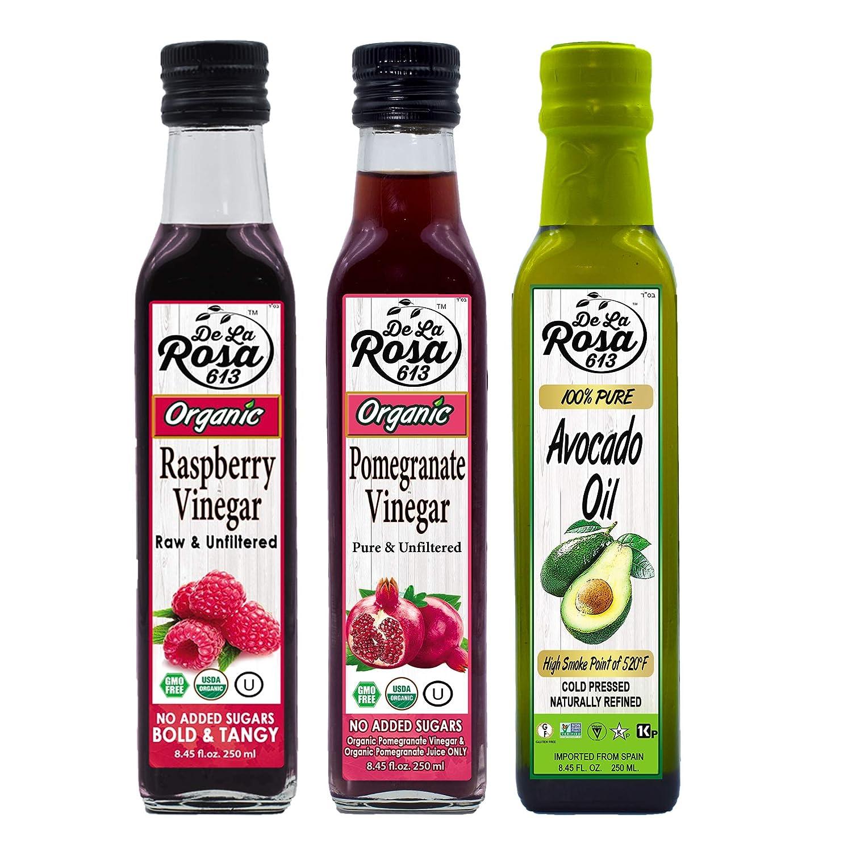 NON-GMO Avocado Oil, ORGANIC Raspberry  Pomegranate Vinegar Com