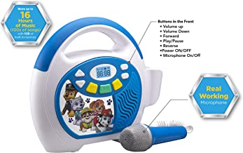 Paw Patrol Bluetooth Sing Along Portable MP3 Player Real Working Microphone Storesup To 16 Hours of Music with 1 GB built in memory USB Port To Expand Your Content built in Rechargeable Batteries
