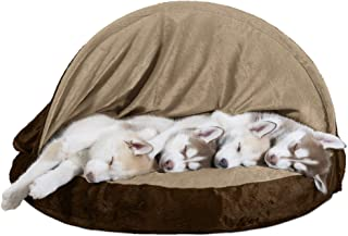 Furhaven Pet Dog Bed | Round Snuggery Burrow Pet Bed for Dogs & Cats - Available in Multiple Colors & Styles