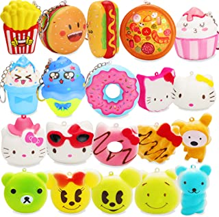 GROBRO7 20 Pcs Kawaii Cute Food Squishy Toys Set, Fries, Hamburger, Pizza, ice Cream, Doughnut Slow Rising Cream Scented Squishy Stress Relief Squeeze Toys