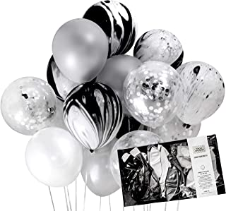 Silver Party Decoration Black Marble Foil Confetti Balloons (Thick 12 inch 20pcs, Ready To Inflate) for Wedding Bachelor Birthday Party, Photobooth, Backdrop - by TOKYO SATURDAY (Silver Marble)