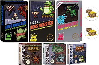 Boss Monster Card Game Bundle with Boss Monster 1, 2, and 3, Implements of Destruction, Crash Landing, Tools of Hero Kind Plus 2 Treasure Chest Buttons