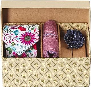 Original Penguin Men's Sommers 3-Piece Floral Tie, Pocket Square & Lapel Pin Box, Magenta, One Size