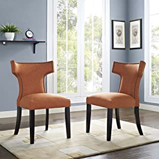 Modway Curve Mid-Century Modern Upholstered Fabric Dining Armchairs With Nailhead Trim, Two Chair Set, Orange