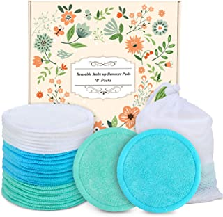 Reusable Cotton Rounds - 18 Pack 100% Organic Reusable Cotton Pads With Washable Laundry Bag Makeup Remover Pads for Toner...