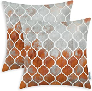 CaliTime Pack of 2 Cozy Throw Pillow Cases Covers for Couch Bed Sofa Farmhouse Manual Hand Painted Colorful Geometric Trellis Chain Print 18 X 18 Inches Main Grey Rust Red