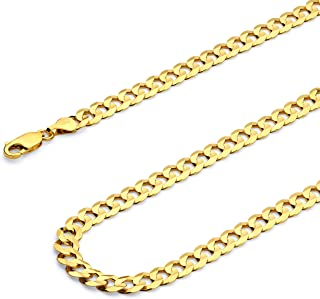 Wellingsale 14k Yellow Gold Polished Solid 6.5mm Cuban Concaved Curb Chain Necklace