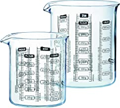 Pyrex Measuring Glass Beaker Set (2-Piece Set), Multiple Metric Measurement Text for Liquids and Foods