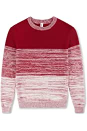 Kid Nation Boys Sweater Cotton Long Sleeve Casual Pullover Mixed Engineered Colors Stripe Crew Neck
