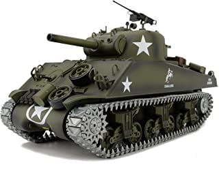 Modified Edition 1/16 2.4ghz Remote Control US M4A3 Sherman Tank Model(360-Degree Rotating Turret)(Steel Gear Gearbox)(3800mah Battery)(Metal Tracks &Sprocket Wheel & Idle Wheel)