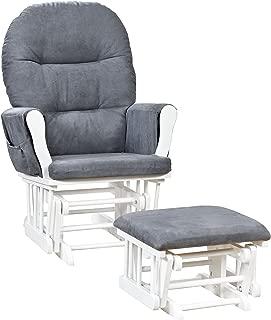 naomi home brisbane glider & ottoman set white gray