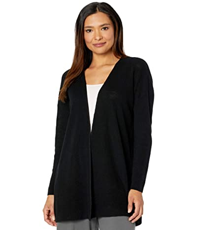Eileen Fisher Organic Linen Cotton Boxy Cardigan (Black) Women